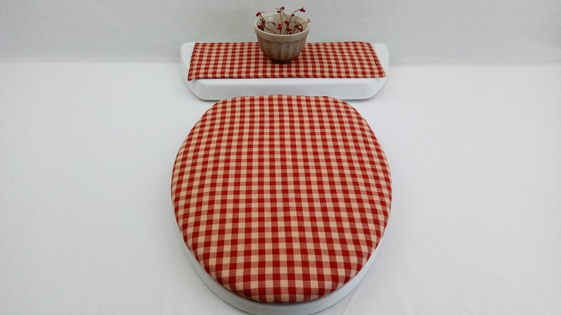 Cool Red Check Toilet Seat Cover Set Made With Homespun Fabric Farmhouse Bathroom Tank Lid Topper Guest Bath Accessories Item 615 Ibusinesslaw Wood Chair Design Ideas Ibusinesslaworg