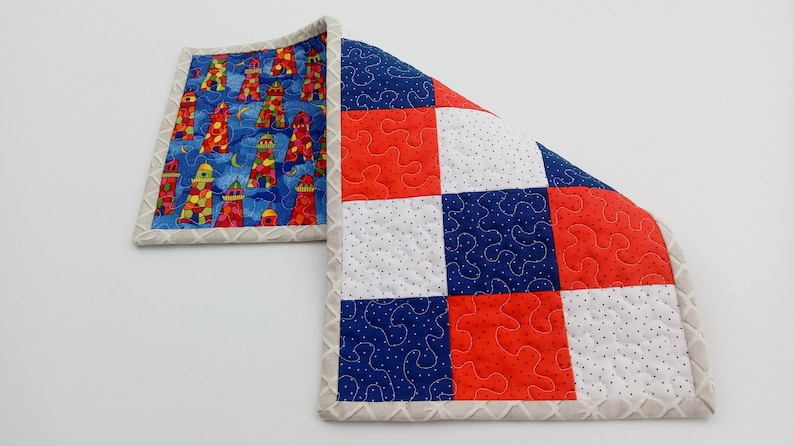 Patchwork Table Topper Toilet Tank Topper Patriotic Decor Red White Blue Small Quilted Table Runner Item #604 Lighthouse Table Placemat