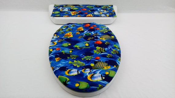 Enjoyable Ocean Fish Toilet Seat Cover Set Toilet Tank Lid Topper Nautical Bathroom Accessory Lake House Decor Beach Lover Gift Item 560 Ncnpc Chair Design For Home Ncnpcorg