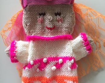 Hand knitted oriental princess puppet, Woman puppet from Asia,