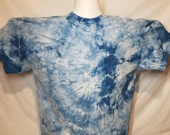 Chest 40\u201d Indigo Tie Dye Shibori Bohemian Blouse Tank Tops Sleeveless,One size fit XS,S,M,L