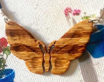 Butterfly Necklace / Hand-carved Wood Necklace