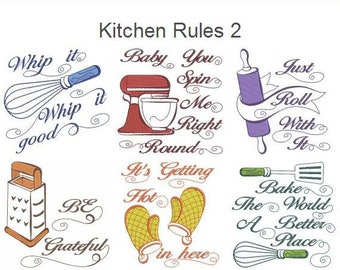 Kitchen Rules 2 Machine Embroidery Designs Instant Download 4x4 5x5 6x6  Hoop 10 Designs APE2764