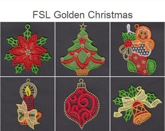 fsl golden christmas free standing lace machine embroidery designs instant download 4x4 hoop 10 designs ape2323 - Golden Christmas 2