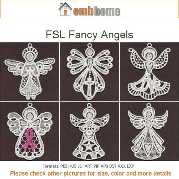 Fsl Fancy Angels Free Standing Lace Machine Embroidery Designs Etsy