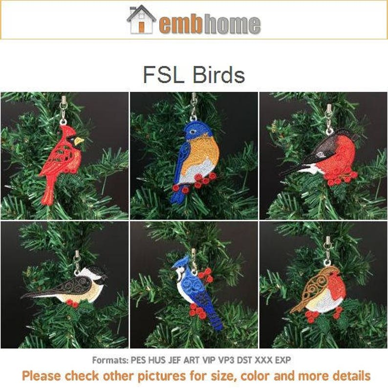 FSL Birds Free Standing Lace Machine Embroidery Designs Instant Download  4x4 hoop 10 designs APE2359
