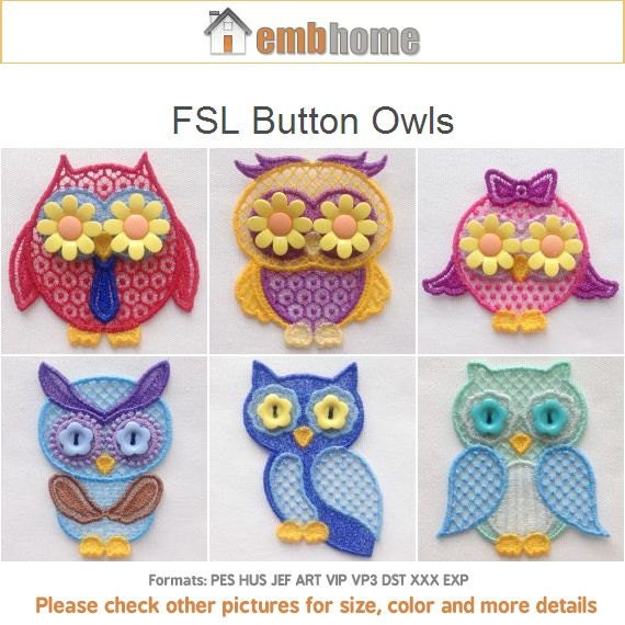 Fsl Button Owls Free Standing Lace Ornament Machine Embroidery Etsy