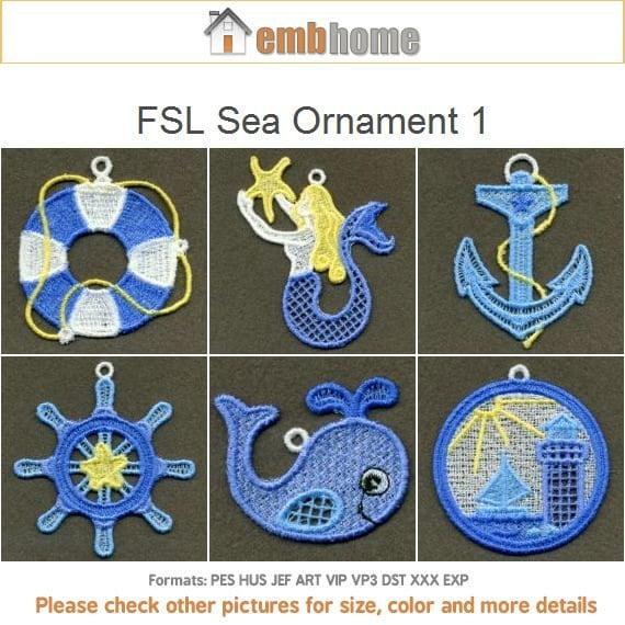 Fsl Sea Ornament Free Standing Lace Machine Embroidery Designs Etsy