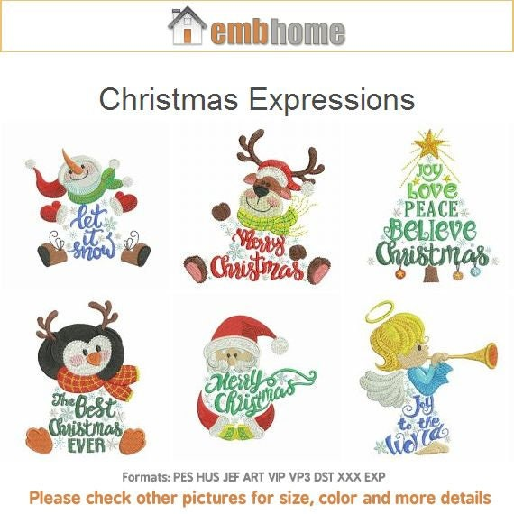 Christmas Expressions.Christmas Expressions Machine Embroidery Designs Pack Instant Download 4x4 5x5 Hoop 13 Designs Ape2828