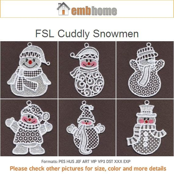 Fsl Cuddly Snowmen Free Standing Lace Machine Embroidery Etsy