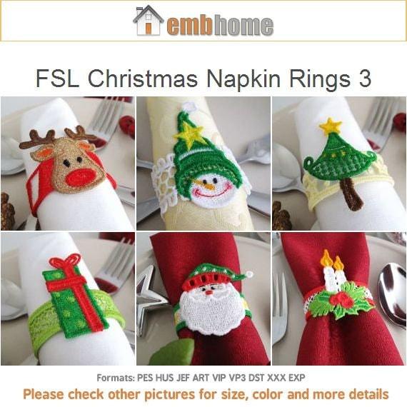Fsl Christmas Napkin Rings 3 Free Standing Lace Machine Etsy
