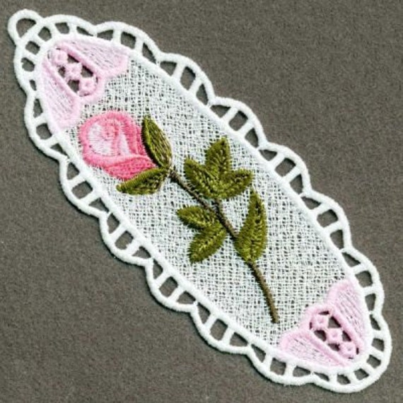 Fsl Floral Bookmark Machine Embroidery Design Ornament Free Etsy