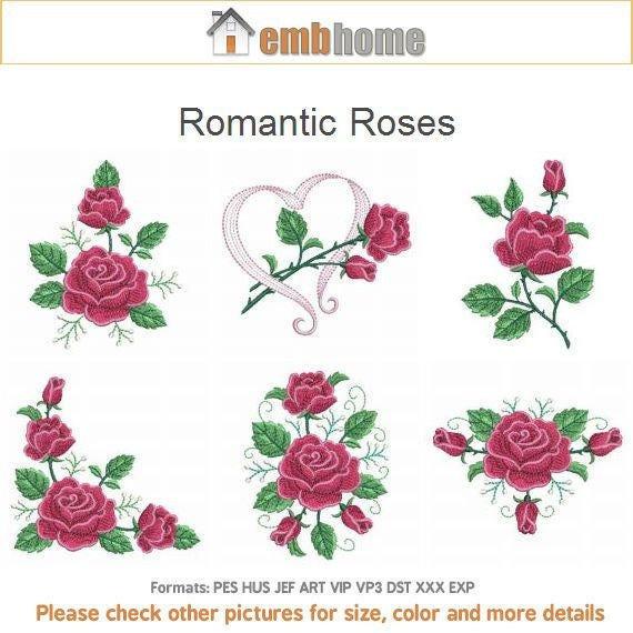 Romántico rosas máquina bordado diseños instantánea descargar | Etsy