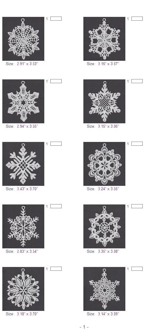 Fsl Snowflakes 10 Free Standing Lace Ornament Machine Etsy