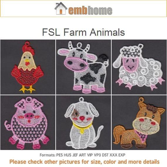 Fsl Farm Animals Free Standing Lace Machine Embroidery Etsy