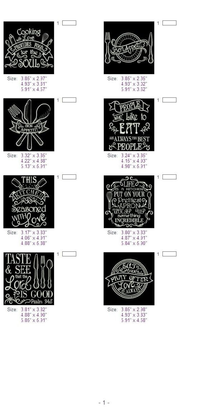 Kitchen Sayings Machine Embroidery Designs Instant ...