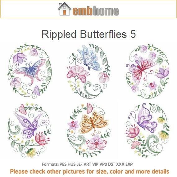 Ridée papillons 5 fleurs immédiat Machine Embroidery Designs téléchargement immédiat fleurs 4x4 5 x 5 6 x 6 cerceaux 12 dessins APE2011 0cf113