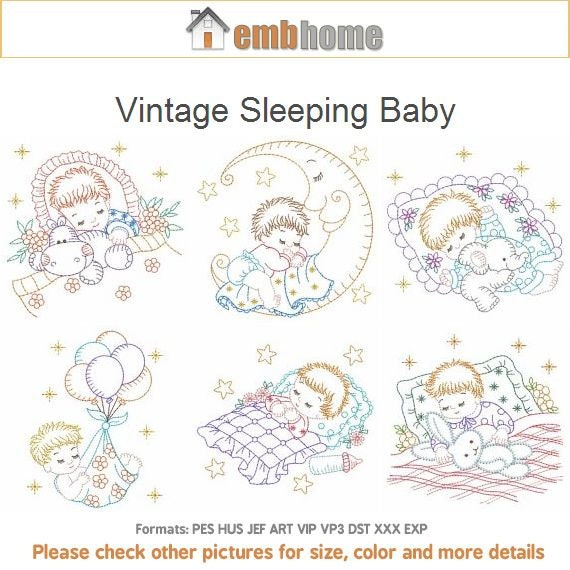 Vintage Sleeping Baby Machine Embroidery Designs Pack