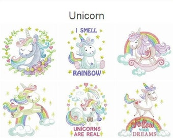 Unicorn Machine Embroidery Designs Pack Instant Download 5x5 6x6 8x8 hoop 10 designs APE2688