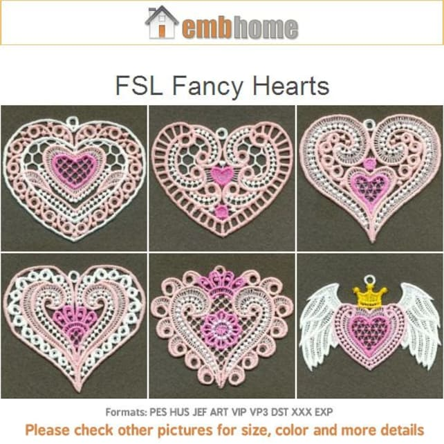 Fsl Fancy Hearts Free Standing Lace Machine Embroidery Designs Etsy