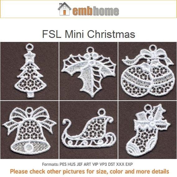 Fsl Mini Christmas Ornament Free Standing Lace Machine Etsy