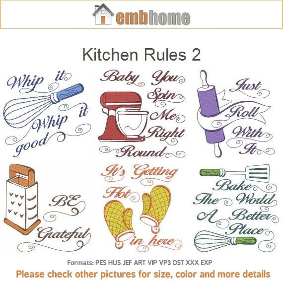 Kitchen Rules Machine Embroidery Designs Instant Download ...