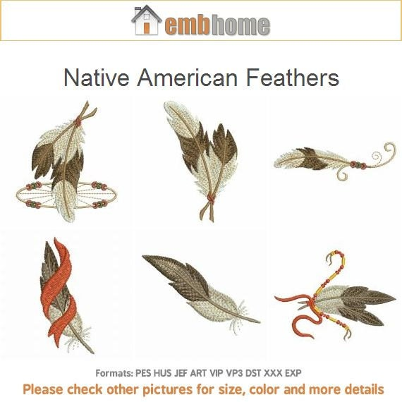 Native American Feathers Indian Culture Machine Embroidery Etsy