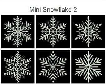 Mini Snowflake 2 Pack Machine Embroidery Designs Instant Download 3x3 hoop 10 designs APE2603