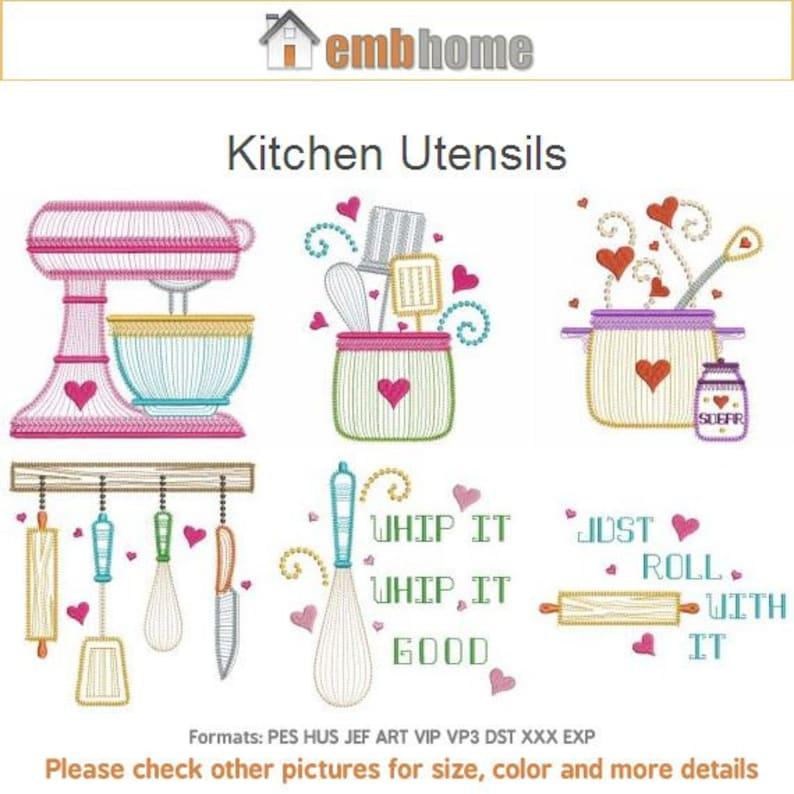Kitchen Design Tool Free: Kitchen Utensils Cooking Tools Machine Embroidery Designs