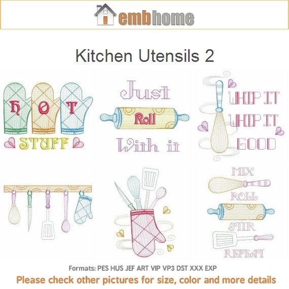 Kitchen Utensils 2 Cooking Tools Machine Embroidery Designs Etsy