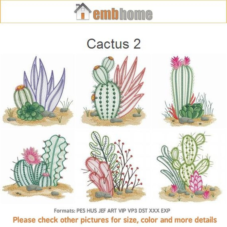 Cactus 2 Machine Embroidery Designs Instant Download 4x4