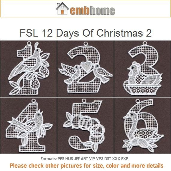 Fsl 12 Days Of Christmas Ornament Free Standing Lace Machine Etsy