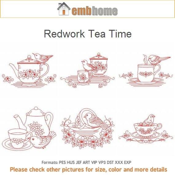 Redwork Tea Time Machine bordado diseños instantánea Descargar | Etsy