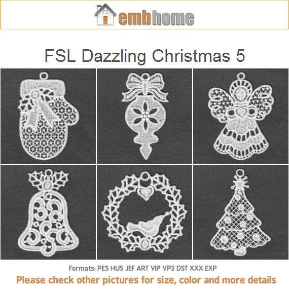 Fsl Dazzling Christmas 5 Free Standing Lace Machine Embroidery Etsy