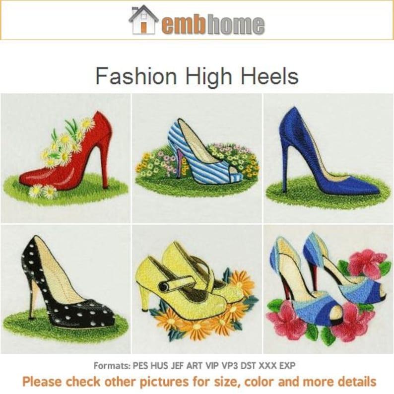 165263bcdac Fashion High Heels Shoe Girl Clothing Machine Embroidery