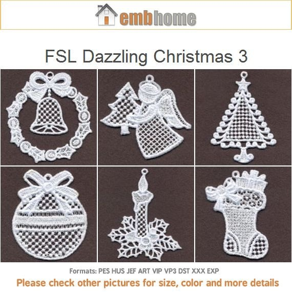 Fsl Dazzling Christmas Ornament Free Standing Lace Machine Etsy