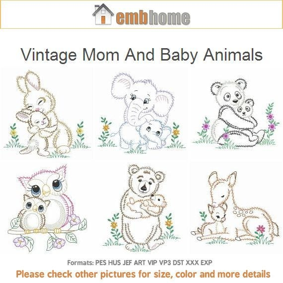 Vintage Mom And Baby Animals Embroidery Designs Instant Etsy