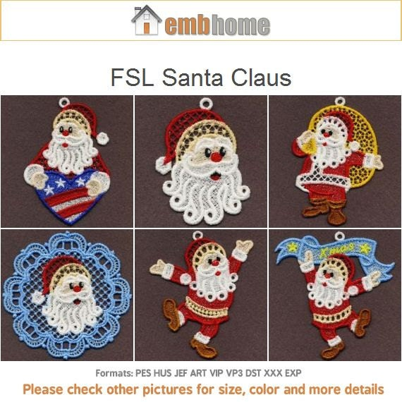 Fsl Santa Claus Free Standing Lace Machine Embroidery Etsy