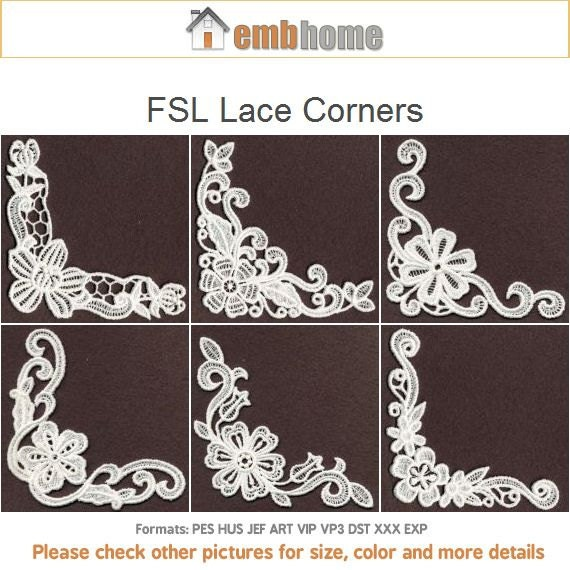 Fsl Lace Corners Free Standing Lace Machine Embroidery Etsy