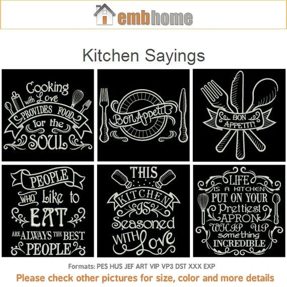 Kitchen Sayings Machine Embroidery Designs Instant Download Etsy