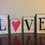 Valentine's Day decor - Wood LOVE Blocks- Valentines day Blocks - Seasonal Winter Home Decor- fireplace mantel decor - bookshelf decor