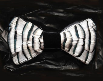 Derby Feather Bow Tie - Men's Black and White Feather Bow Tie