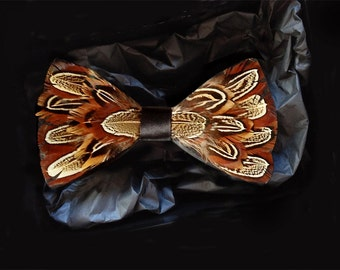 Oxford Feather Bow Tie - Men's Pheasant Feather Bow Tie