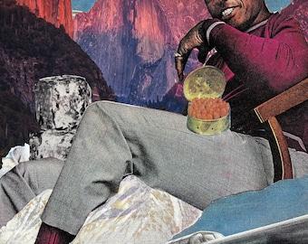 Black Nature Collage, Cabin Fever, Analog Collage, Afro Futurism, Black Man, Safe Space, Man Cave Art Print Poster