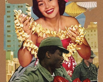 Military City Decoration Day Thank You For Your Service San Antonio Fiesta Hawaiian Woman 1950s Photo Paper Poster