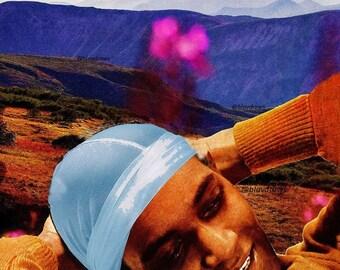 Black Man Art Afro Futurist Art Black Joy Art Retro Decor 60s Black Nature Art Maximalist Decor Poster