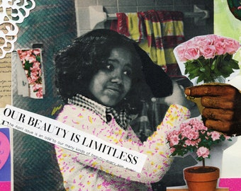 African American Art Print Retro Decor 60s Unapologetically Nature Vintage Glamour Black Woman Art Diamond Bipoc Art
