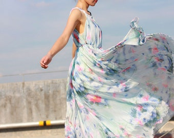 df6b7b9e5aa21 White blue summer dress boho plus size maxi dress floral sundress beach  bridesmaid dress graduation dresses custom made 12 colors