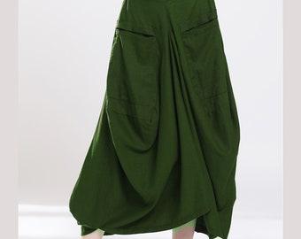 588a12c03d Tea Green linen skirt oversize bulb skirts Big Pockets loose maxi skirt  cotton elastic waist custom make skirts more colors available