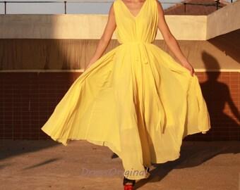 eb2fb5480 Yellow chiffon dress